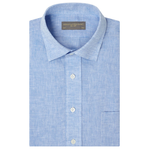 Adam Blue Short Sleeve Linen Shirt