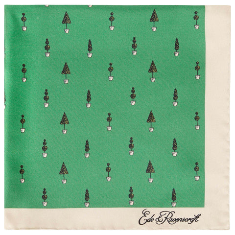 Green Topiary Silk Pocket Square