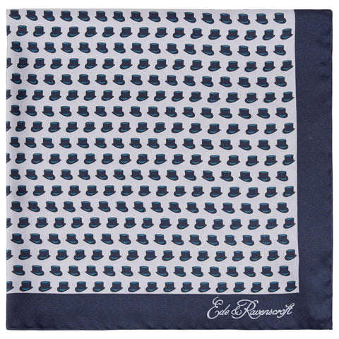 Blue Top Hat Silk Pocket Square