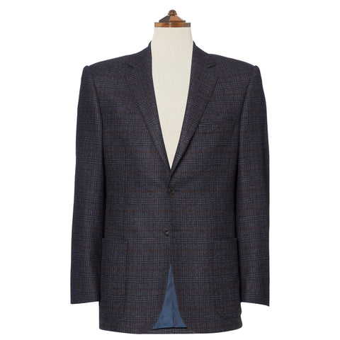Edgar Charcoal with Brown Check Lambswool and Cashmere Jacket