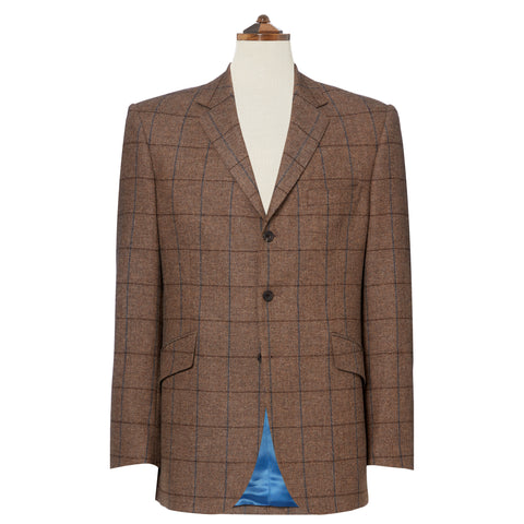Warrick Brown Herringbone Check Wool Jacket