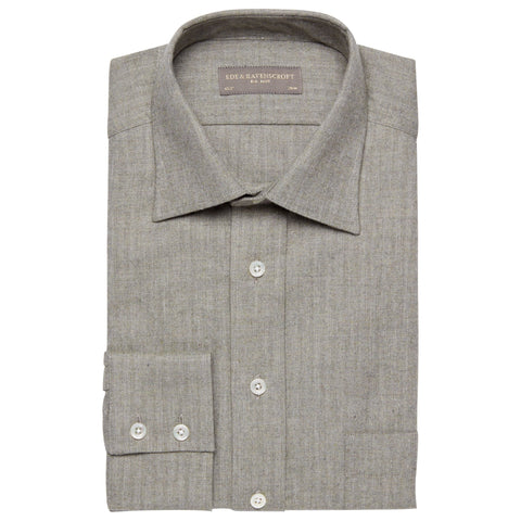 Alderney Light Green Herringbone Shirt