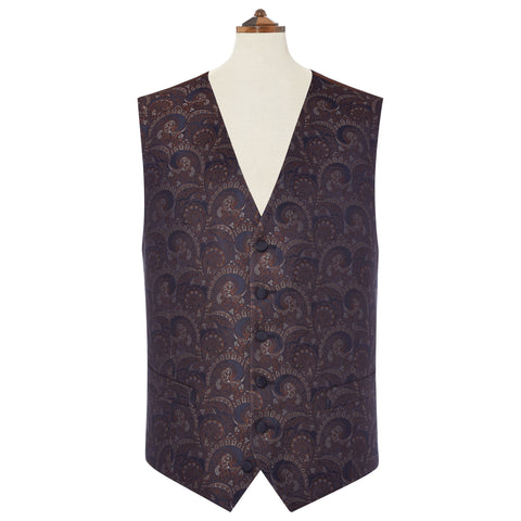 Hyde Navy And Silver Silk Jacquard Waistcoat