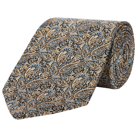 Green Paisley Jaquard Woven Silk Tie