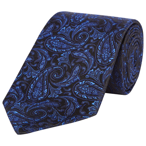 Black and Blue Paisley Sateen Woven Silk Tie