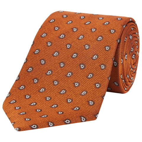 Orange Paisley Teardrop Woven Silk Tie