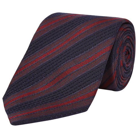Navy Stripe  Bold Textured Woven Silk Wool Tie