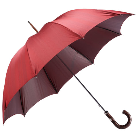 Woven Leather Handle Textured Twill Red Umbrella
