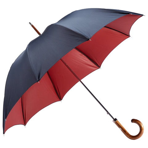 Polished Maple Wood-handle Navy and Red Umbrella