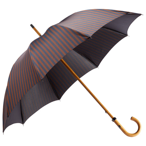 Maple wood-Handle Bold Stripe Navy Umbrella
