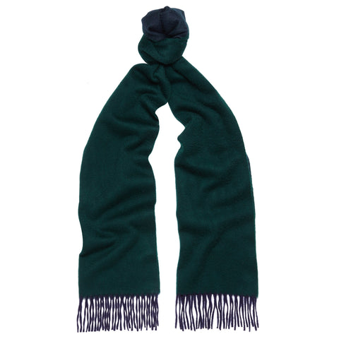Arran Reversible Green and Navy Cashmere Scarf