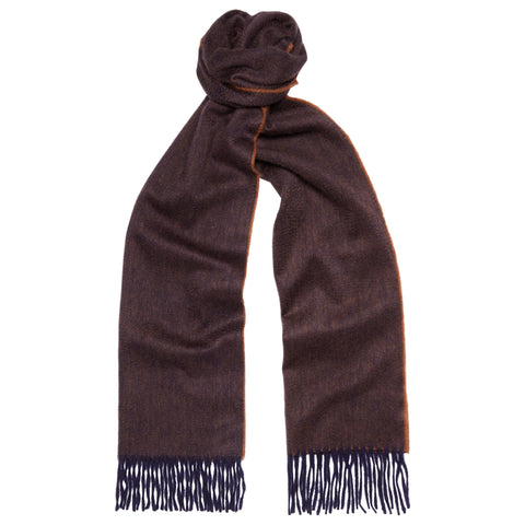 Arran Reversible Navy and Brown Cashmere Scarf