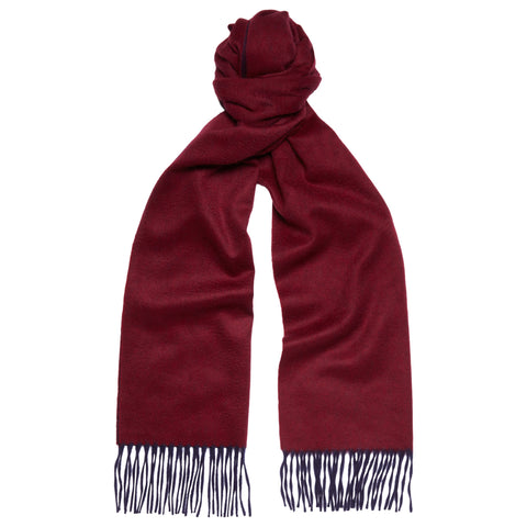 Arran Reversible Navy and Burgundy Cashmere Scarf