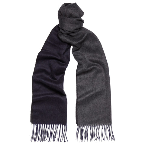 Arran Block Stripe Navy and Grey  Cashmere Scarf
