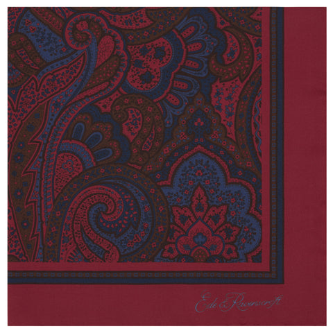 Red Stylised Paisley Silk Pocket Square