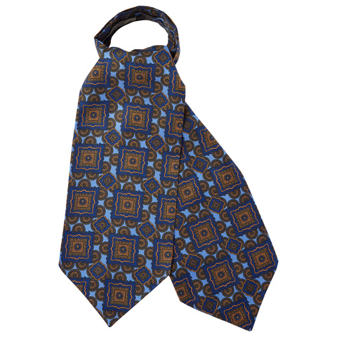 Blue Geometric Silk Cravat