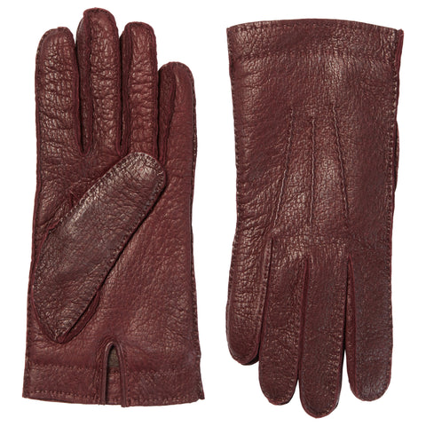 Burgundy Peccary Leather Gloves