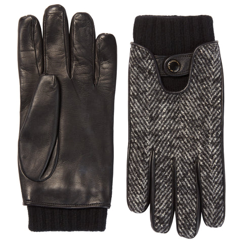 Black Tweed Lambskin Leather Gloves