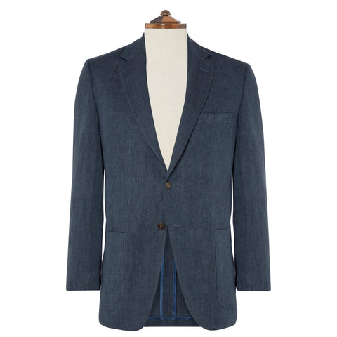Bletchley Blue Herringbone Linen Jacket