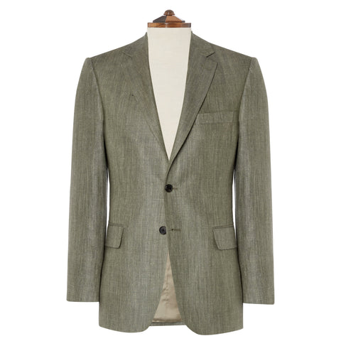 William Green Herringbone Silk, Linen and Wool Jacket