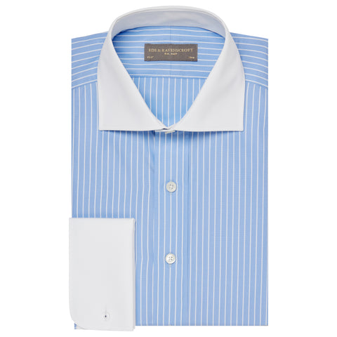 Angus Blue Stripe Shirt with Contrast Collar