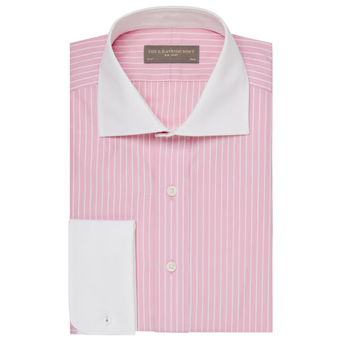 Angus Pink Stripe Shirt with Contrast Collar