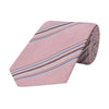 Pink Multi Stripe Woven Cotton and Silk Tie