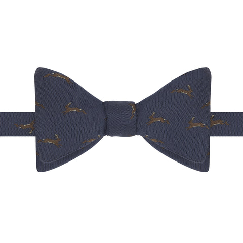 Blue Rabbit Woven Silk and Wool Bow Tie