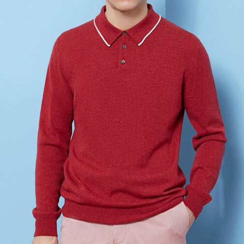 Kirkwell Red and White Long Sleeve Knitted Shirt