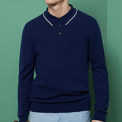 Kirkwell Navy and White Long Sleeve Knitted Shirt