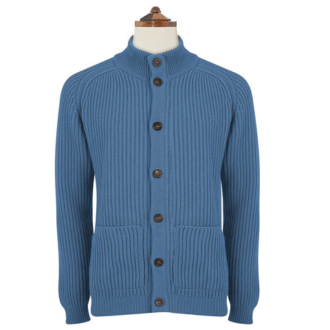 Kingsley Blue Ribbed Cardigan
