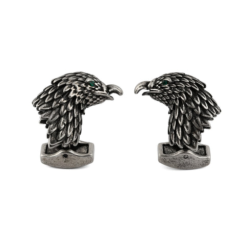 Antique Silver Raven Cufflinks