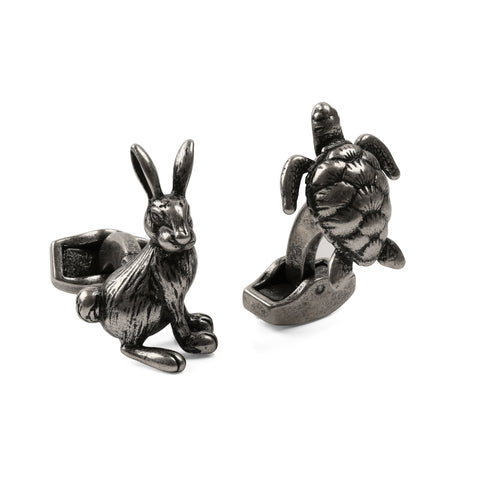 Antique Silver Hare and Tortoise Cufflinks