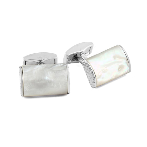 Silver and Mother of Pearl D-Shape Cufflinks