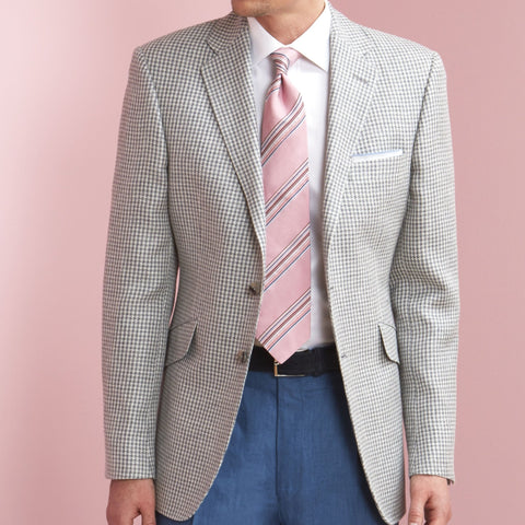 William Grey Houndstooth Silk and Wool Jacket