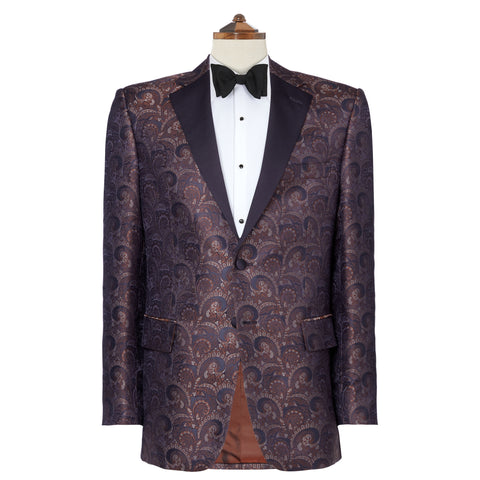 William Navy Silk Jacquard Dinner Jacket