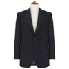 Edgar Navy Herringone Wool and Silk Jacket