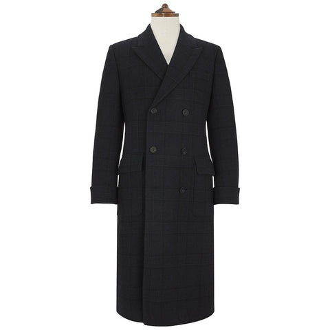 Portland Navy Tonal Check Coat