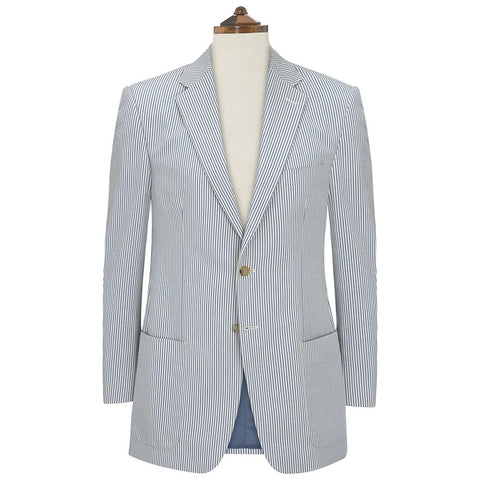 Edgar Blue White Seersucker Jacket