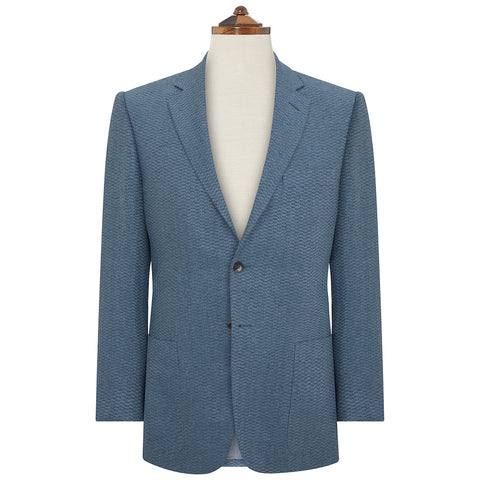 Edgar Blue Textured Herringbone Jacket