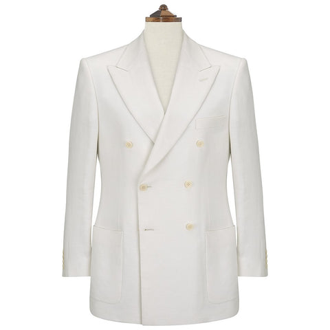 Balfour White Double Breasted  Linen Jacket