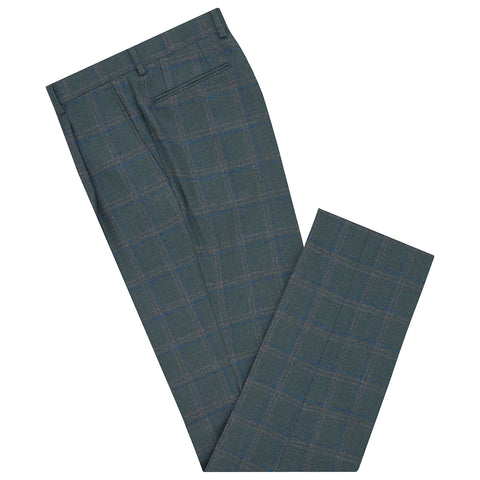 Tyler Green and Blue Windowpane Check Trouser