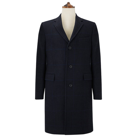 Granard Navy Tonal Check Coat