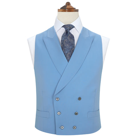 Hayward Light Blue Royal Gabardine Wool Waistcoat