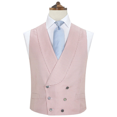 Hudson Pink and White Silk Houndstooth Waistcoat