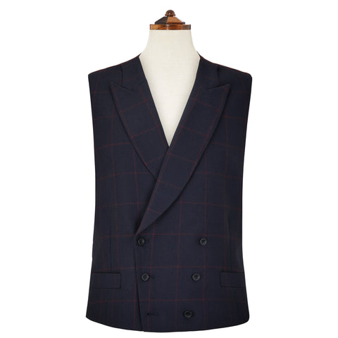 Hayward Navy and Red Windowpane Check Waistcoat