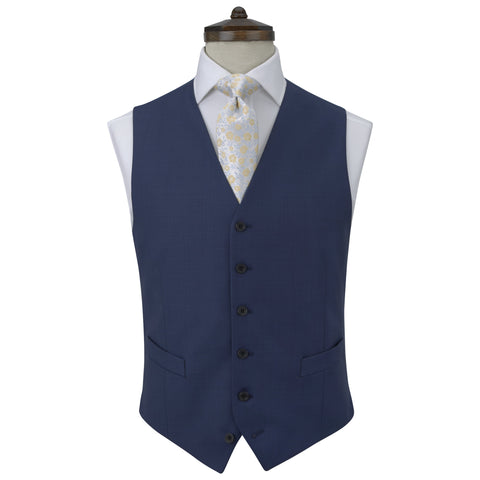 Hyde Light Navy Plain Weave Waistcoat
