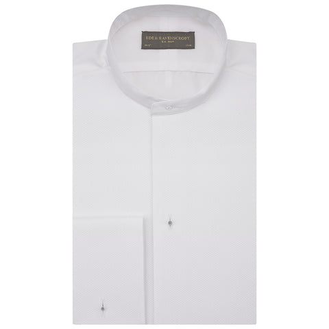 Delaney White Stiff Bib Tunic Collar Shirt