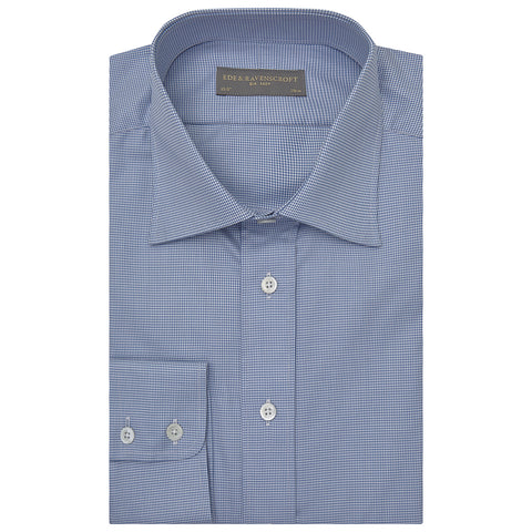 Alistair Blue and White Micro Houndstooth Shirt