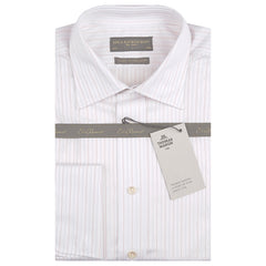 Anderson White and Red Twill Fine Stripe Shirt